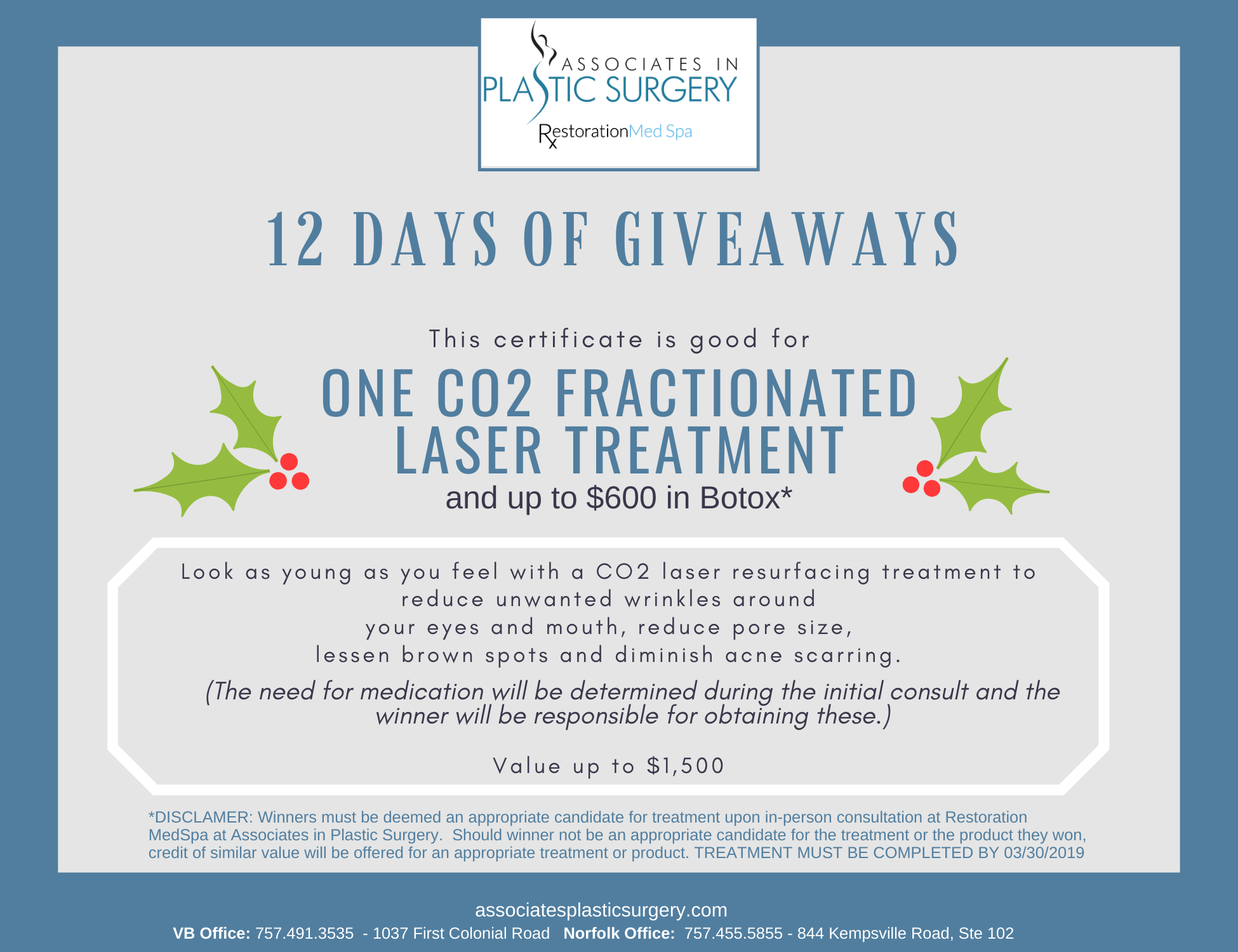Day-11-Virginia-Beach-MedSpa-Holiday-Special-One-CO2-Fractionated-Laser-Treatment